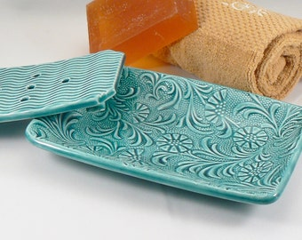 Ceramic Soap Dish in Teal with Floral Pattern Handmade