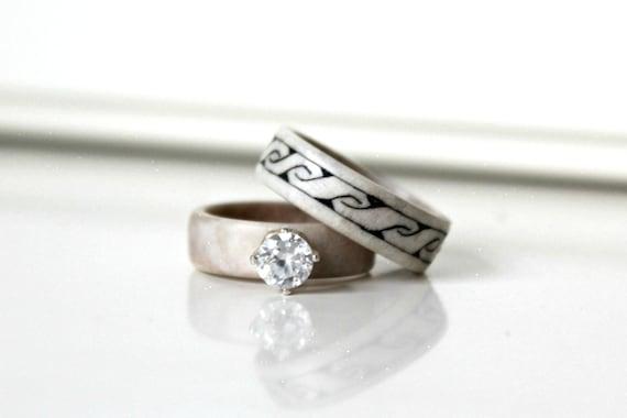 Antler Wedding Bands Antler Wedding Ring Nordic Wedding