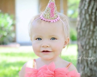 Mini Glittery 1st Birthday Girl Party Hat || Girl Birthday Party || 1st Birthday || Ready to Ship
