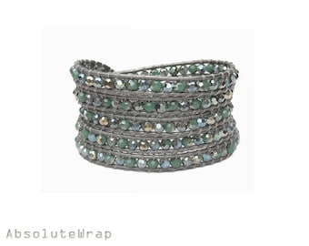 Green crystal wrap bracelet on gray leather cord