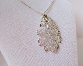 Sterling Silver Genuine Oak Leaf on Box Chain Necklace/Real Oak Leaf/Botanical Necklace/Nature Jewelry/Real Leaf Jewelry/Oak Leaf Necklace