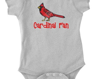 EMBROIDERED CARDINAL Baseball Team onesie Personalized Sports Fan Newborn Birthday Baby Infant Onesie Sports Party Baby Shower
