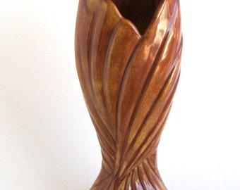 West Coast Art Nouveau Twist Vase Blended Russet Largest Size