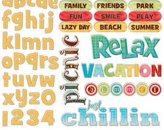 Summer Word Art Digital - Summer Clipart Alphabet Scrapbook Quotes & Sayings - Scrapbooking Titles - Printable - Instant Download