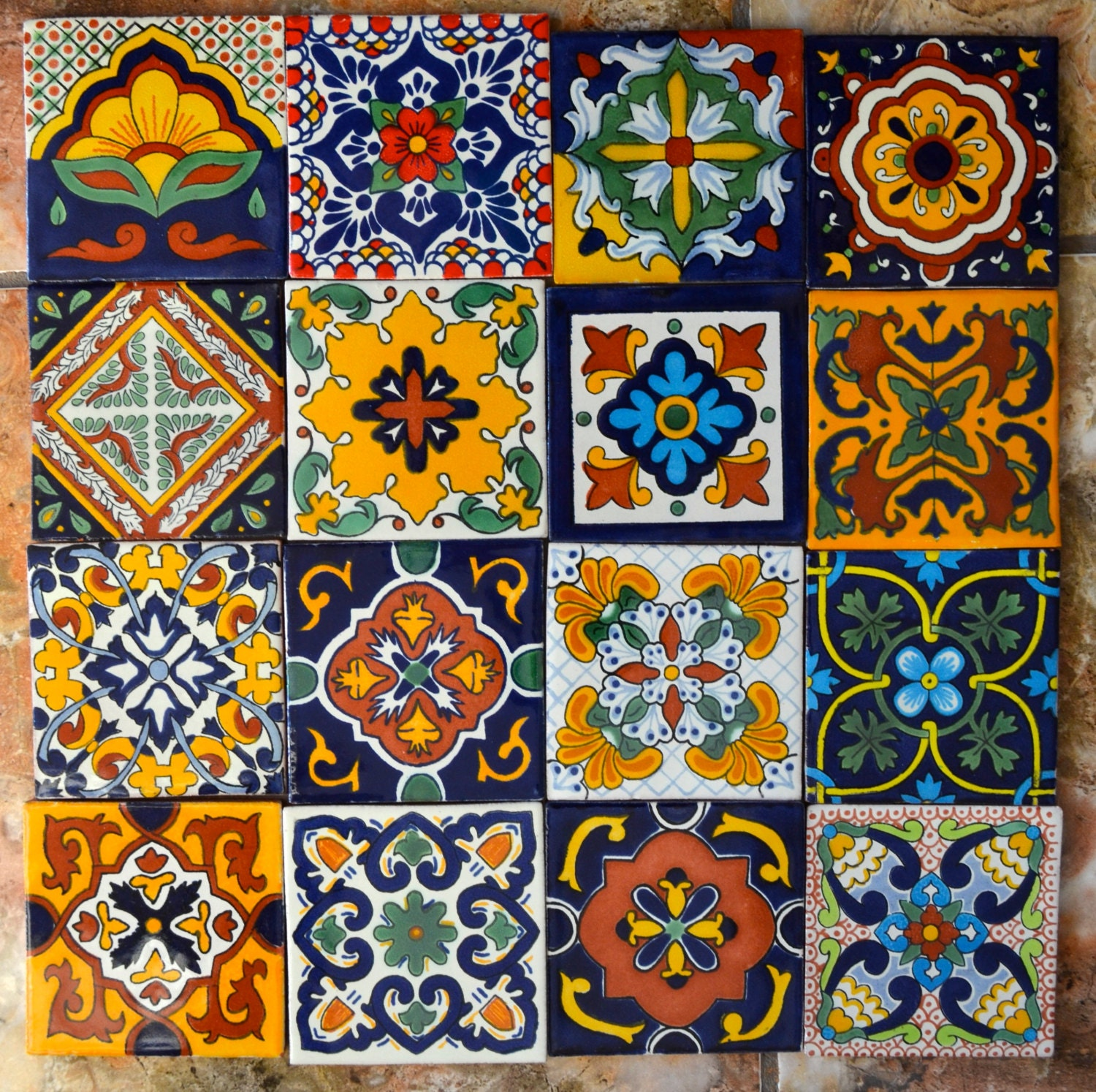 Mexican Tiles: 16 Mexican Talavera Tiles Handmade Hand Painted 4 X