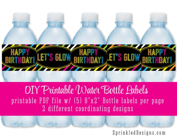 Neon Water Bottles Printable Water Bottle Labels