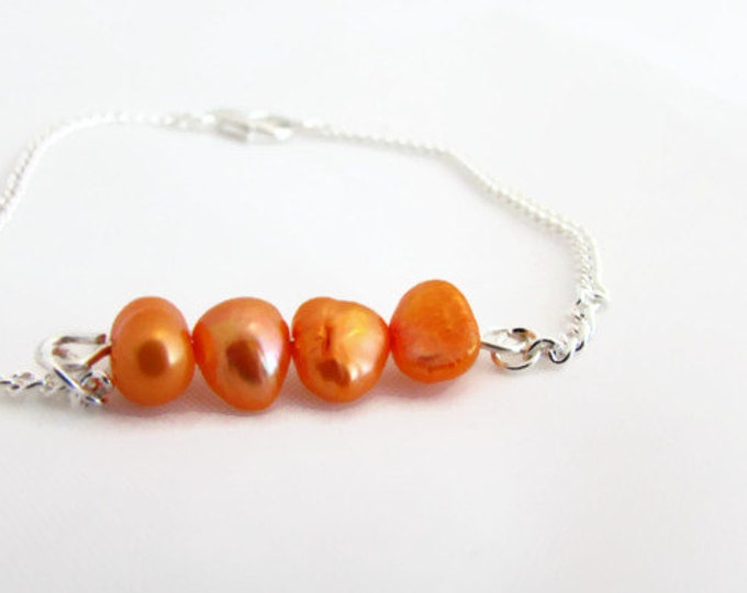 CLEARANCE Orange pearl bar bracelet, freshwater pearl bracelet, bridesmaids bracelet, pearl jewelry, wedding jewellery, handmade in the UK