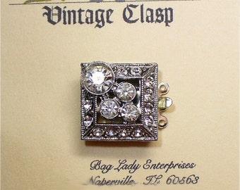 Rhinestone Box Clasp 3 Strand 17mm Square Unusual Vintage