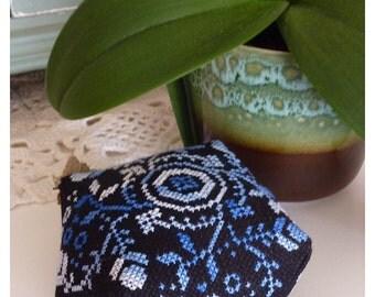 Floral biscornu or pincushion in blue