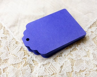Tags BLUE VIOLET Hang Tags,25 Wedding Favor Tags, Party Gift Tags, Die cuts Scrapbook 2.25x1.5 in, cardstock