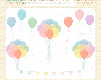 Pastel Party Balloons Clip Art Set - Personal & Commercial Use