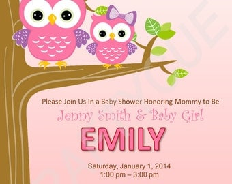 Owl Baby Shower Invitation   Pink Owl Baby Shower Invite