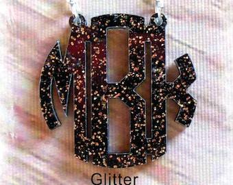 Monogram Necklace -  Acrylic Circle Monogram Custom Necklace ( Handmade Acrylic  Laser Cut Jewelry )Monogram Gift