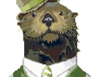 Classy Otter Cross Stitch Pattern