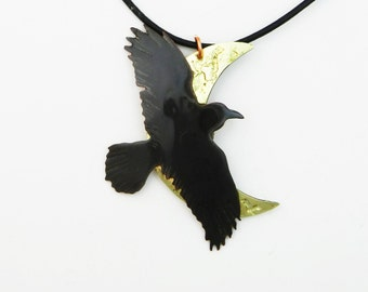 crow pendant, raven necklace, crow jewelry, moon necklace, goth raven, over the moon, mixed metal, brass anniversary, 21st anniversary gift
