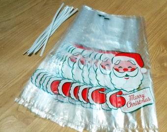 Vintage Santa Merry Christmas Treat Bags Pack of 10 with Twist Ties