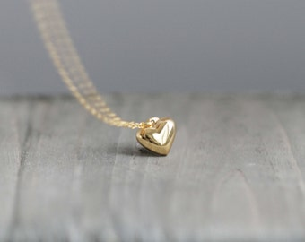 14k Gold Filled Heart Necklace with14k Gold Filled Chain / Puffy Heart Charm Necklace