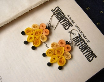 Simple earrings, Yellow Handmade chandelier earrings, statement jewelry, teen earrings, Fun earrings