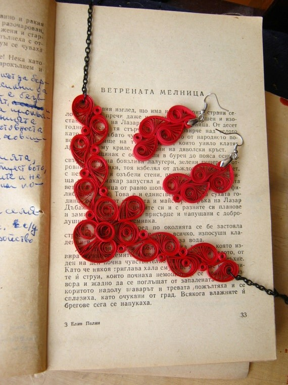 First Wedding Anniversary Gift Jewelry : First Wedding Anniversary, Red Paper Jewelry Set, Paper earrings ...