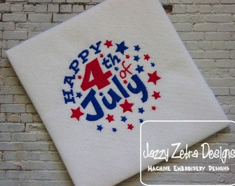 Happy 4th of July Filled embroidery Design - 4th of july embroidery Design - summer embroidery Design