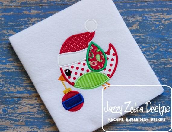 Christmas Bird with Ornament Appliqué embroidery Design - Christmas Appliqué Design - bird Applique Design - Ornament Appliqué Design