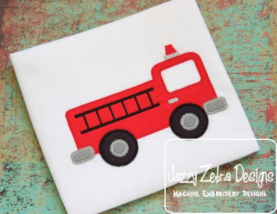 Fire Truck Appliqué embroidery design with Square Diagonal Stitching - fire truck appliqué design - boy appliqué design - fireman appliqué