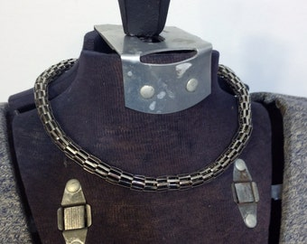 1980's Steampunk Silver Toned Magnetic Coil Necklace, Vintage Steampunk Necklace