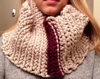 Cream with Eggplant Purple Stripe Crocheted Infinity Scarf