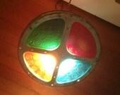 Vintage Christmas, Vintage Color Wheel, Christmas Color Wheel. PINK Color Wheel, Vintage Enamel Lamp. Snowflake Design Original Box USA