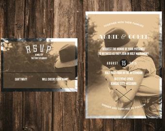 Modern Custom Photo Wedding Invitation // DIY printable // Rustic Wedding, Typography Invitation, Modern Wedding