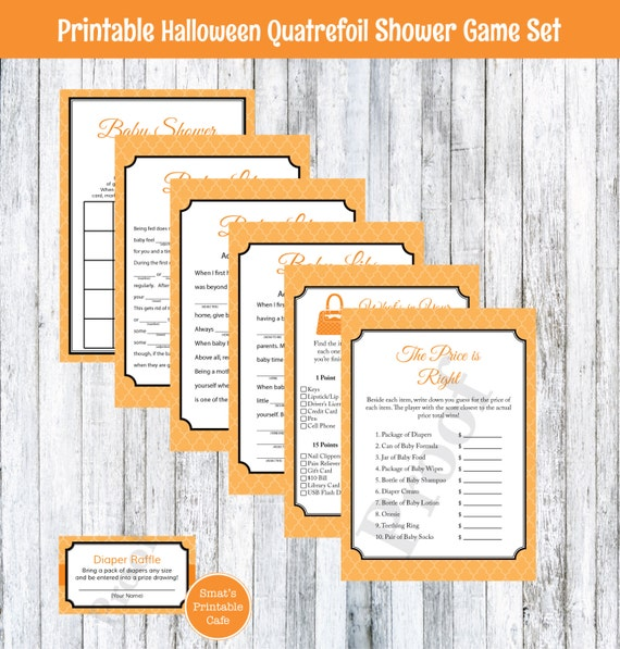 halloween quatrefoil baby shower games package gender neutral