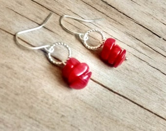 Natural Red Coral Earrings, Red Coral Jewelry, Beach Earrings, Beach Jewelry, Red Earrings, Red Jewelry, Beaded Jewelry, Boho, Silver