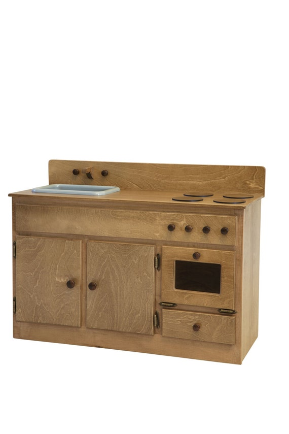 Wooden play kitchen stove sink preschool by rustictoybarn