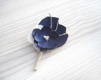 Beach Wedding Navy Blue Lapel Flower Pin,  Groom , Groomsmen, Rustic Boutonniere, Beach Wedding  Boutineers, Mens Buttonholes