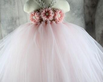 Pearl pink Flower girl dress Tutu dress Wedding dress Birthday dress Newborn 2T to 8T