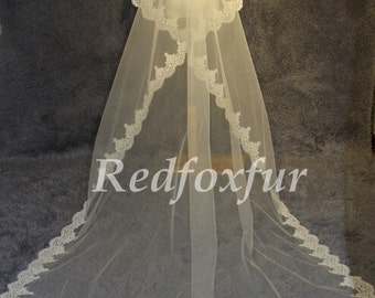 2016 new cathedral veil lace yarn, white ivory bridal veil, wedding accessories 3 meters long
