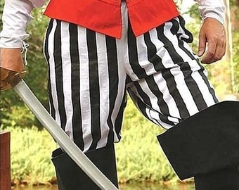 New adult mens womens black and white striped SCA renaissance pirate pants costume costumes