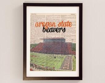 Oregon State Beavers Art Print - Reser Stadium - Print on Vintage Dictionary Paper - Oregon State Football, Graduation Gift, Corvallis, OSU