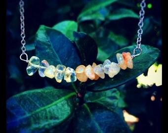 The YELLOW JADE Bar Necklace // Real Semiprecious Yellow Jade Bar Necklace in Antique Silver // Boho Gypsy Layering Necklace