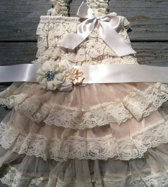 Items Similar To Rustic Flower Girl Dress Cream Ivory