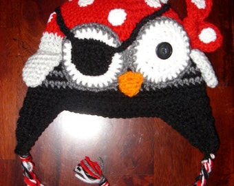 Pirate Owl hat, crocheted, made to order