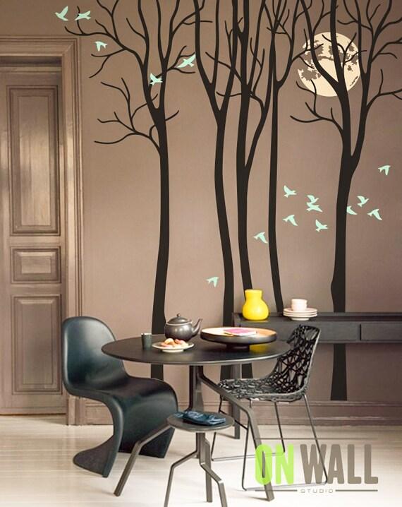 Luna llena sala vinilo rbol etiqueta etiqueta de la pared - Pinturas decorativas en paredes ...