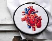 Modern cross stitch pattern, heart hand embroidery pattern, realistic xstitch cross stich design, nerdy geeky crossstich pattern HUMAN HEART