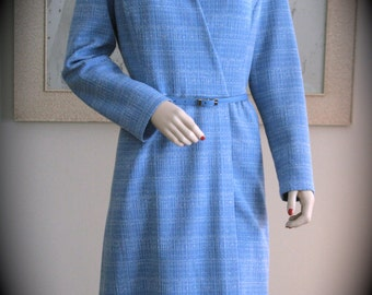 Vintage Kay Windsor Blue Polyester Wrap dress, 1970s, w/ Matching Belt, Very Nice Condition, Vintage Theme Party, Theatre Costume, Film, TV