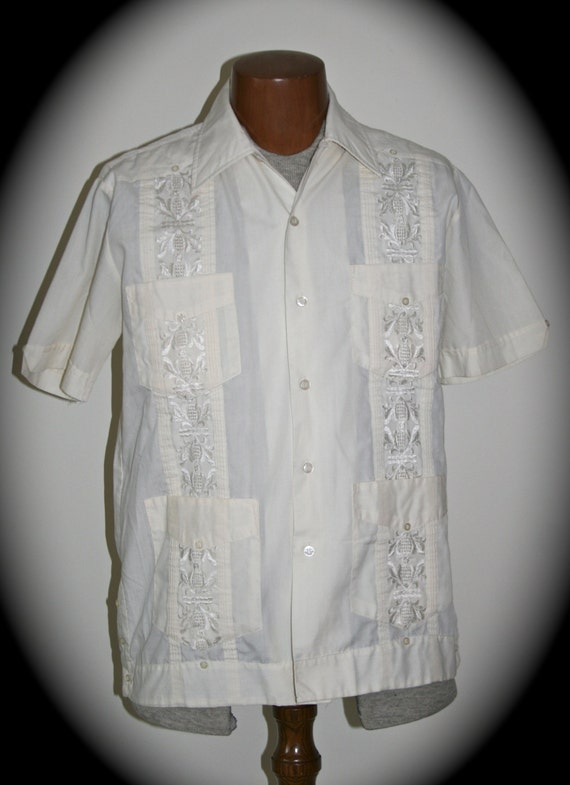 Vintage 1970s mens mexican wedding shirt ivory color for Mens ivory dress shirt wedding