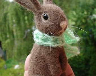 Needle Felted Bunny Rabbit ,light brown  in light green scarf
