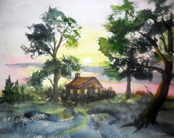 Log Cabin painting orginal watercolor -  11.5 x14 - unmatted - forest painting  - cabin in the woods - country landscape - forest