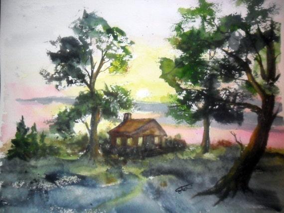 Log Cabin Paintings ~ Log cabin painting orginal watercolor unmatted