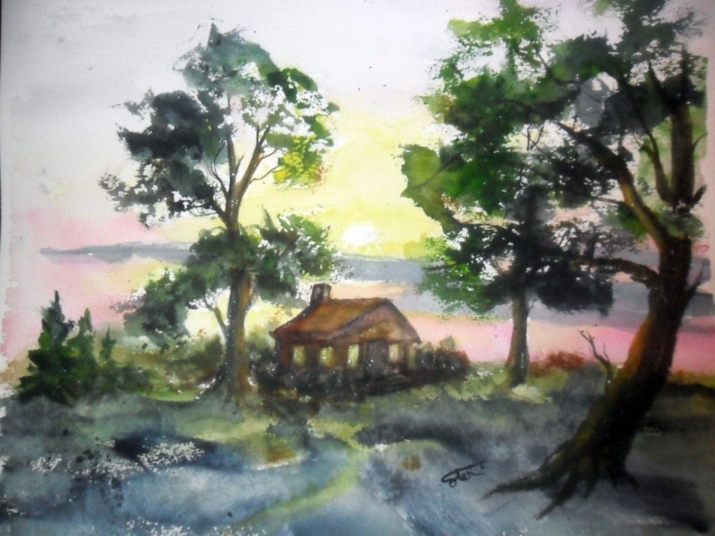Log cabin in the woods painting - Log Cabin Painting Orginal Watercolor 11 5 X14 Unmatted Forest Painting Cabin In