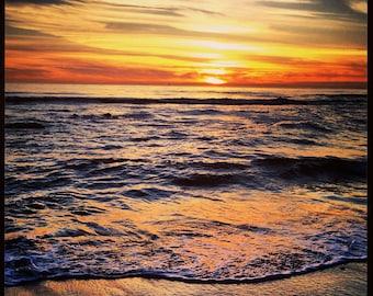 California Sunset, San Clemente Beach Photo Art, Colorful Ocean Sunset Photo, Orange County Beach Sunset, Instant Digital Download JPEG File